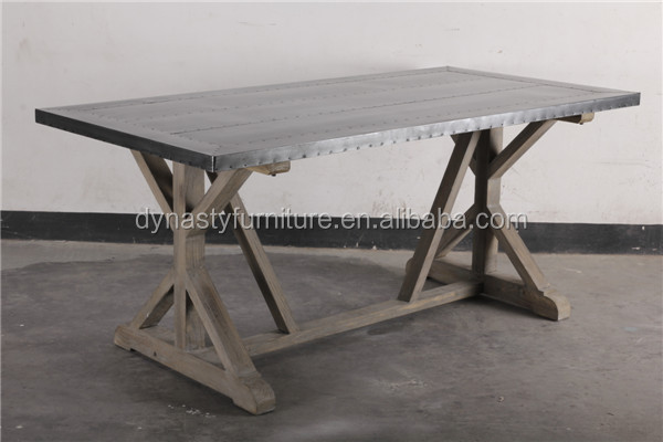 industrial french style furniture zinc top dining table