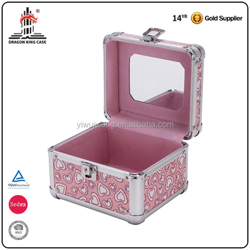 2017 Customized pink outdoor ladies beauty durable pvc mirror cosmetic case