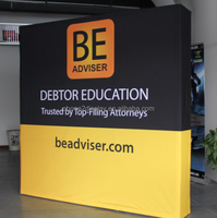 8ft Fabric pop up banner wall for trade show.aluminum pop up system set up in 1 mintue fordable easy to carry