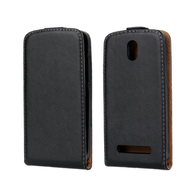 Plain genuine flip book leather case for htc desire 500