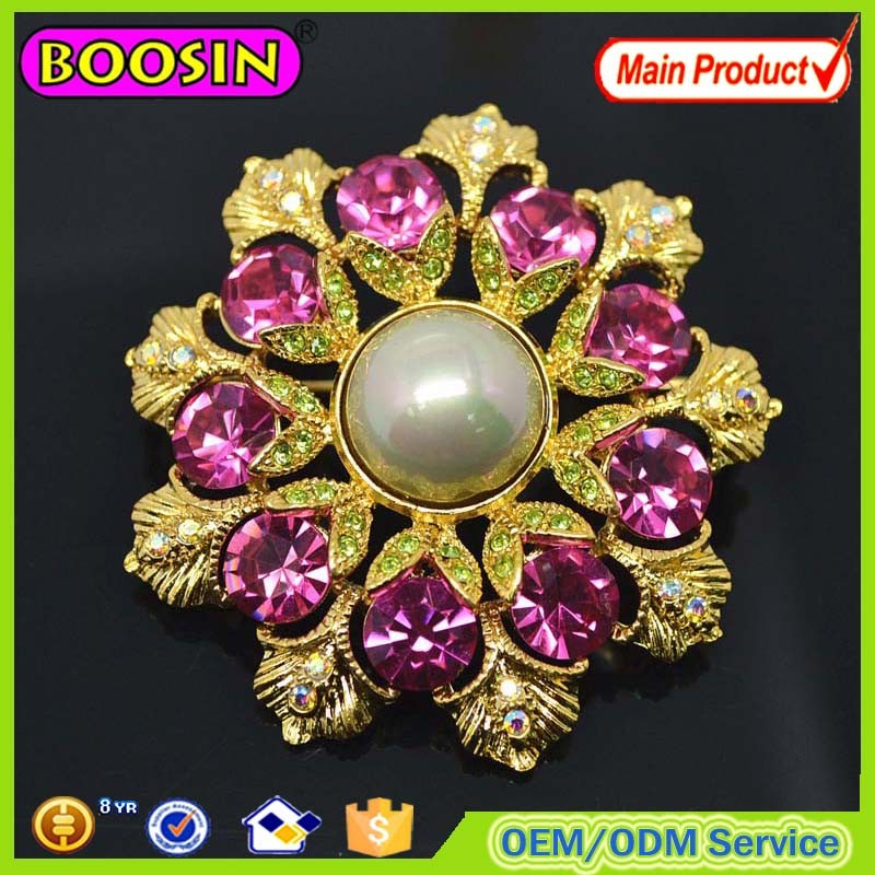 2017 Gold Round Handmade Metal Flower Brooch for Costume Decoration #5283