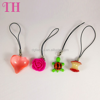 Factory wholesale resin flower turtle shape cell mobile phone strap for present