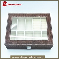 See through Pu Leather Large Wooden Jewelry Box With Compartments