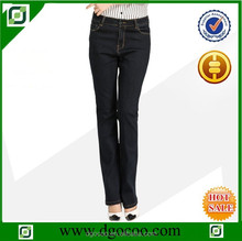 Ocoo Top design fashion OEM service high waist slim fit blank black denim women boot cut jeans