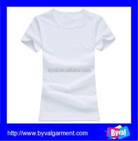 Wholesale white plain t-shirts china manufacturers women 100% cotton cheap white t shirts in bulk
