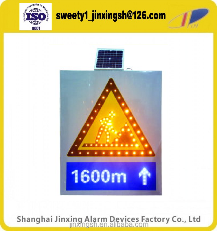 solar warning led traffic signal ,solar no ring LED light,white yellow road work ahead signal