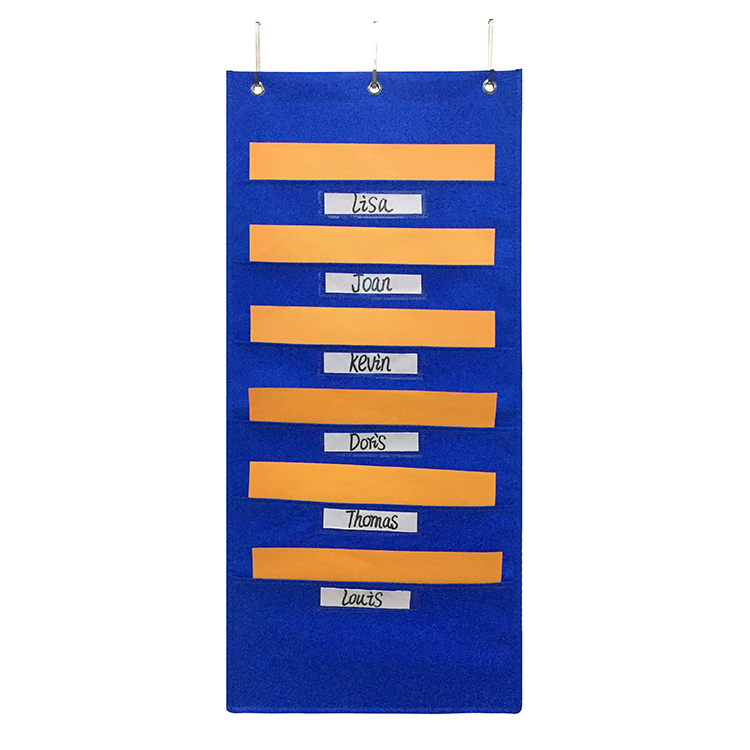 Wall Hanging Pocket Chart 7 Slot Fabric File Organizer with Pocket and Hanger
