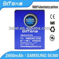 China Factory High Capicity 2450mAH Battery For Samsung S5630 Touch Screen