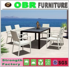 Outdoor furniture dining table set glass table and rattan chair