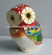 2012 New coming Golden plated Enamel Pewter Alloy Big size Owl trinket box