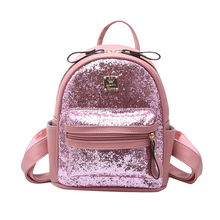 Faux Latest Fashion Stylish Flash Sequin Leather Pink Cute Leather <strong>Backpacks</strong>