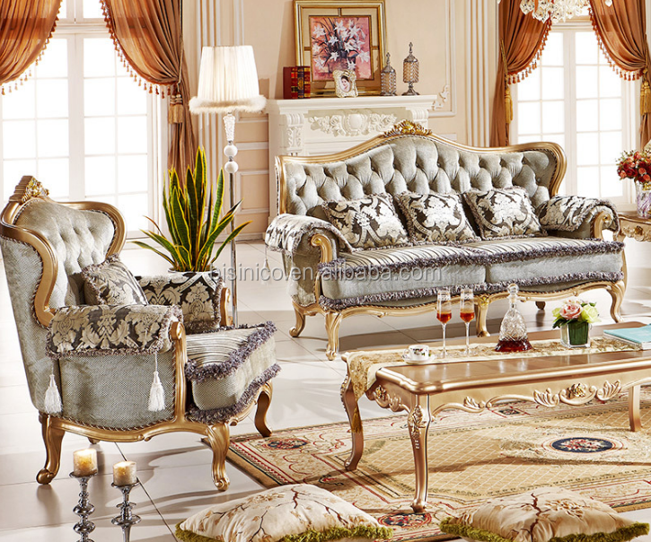 Bisini Luxury Neo-classical Fabric French Style Champagne Gold Carved  European Solid wood Living Room Furniture BF05-1101, View traditional  fabric ...