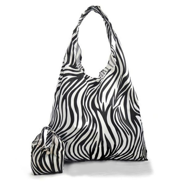 Zebra Pattern Polyester Reusable Tote Bag