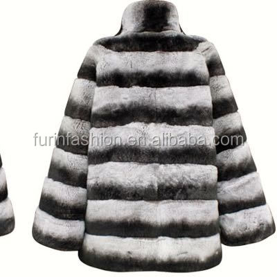 Wholesale New Arrival Chinchilla Color Women Rex Rabbit Fur Coat for Winter Warm
