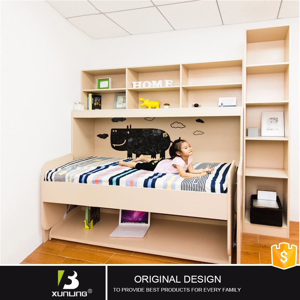 Pull out bed from wall - Transform Single Wall Mounted Bed Pull Out Bed With Bookshelf With Desk
