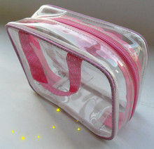 clear vinyl pvc bag with zipper for buss pass holder