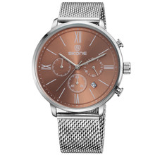 Multifunctional Mesh Stainless Steel Band Quartz Movt Man Watch