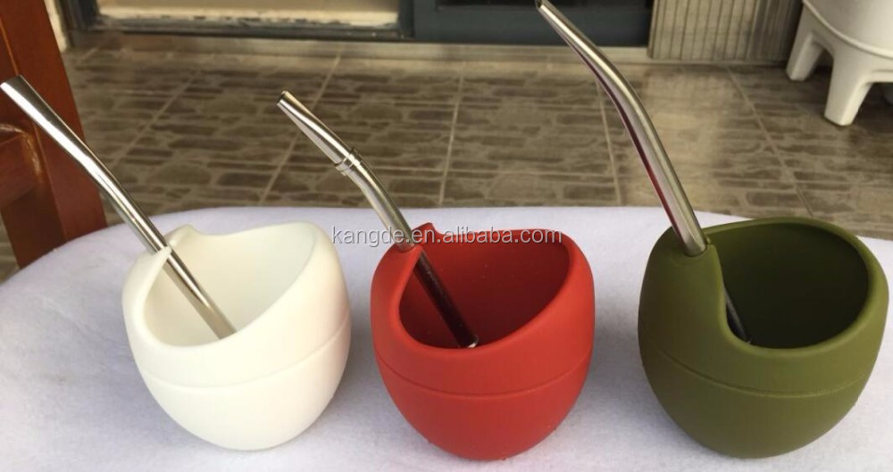 Yerba Mate Gourd with bombilla/Silicone Drinking Cup With Bombilla/Silicon Gourd for Yerba Mate
