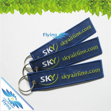 OEM keychain design, bulk cheap custom embroidery key ring with logo, airport fabric keychain for promotion