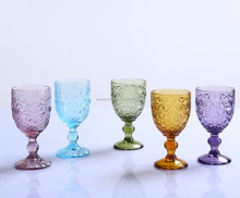 wholesale decorative goblet wine glass amber colored glass water goblet