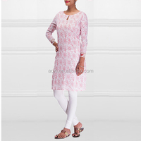 Pink flower printed cotton lady kurta pattern wholesale india kurtis