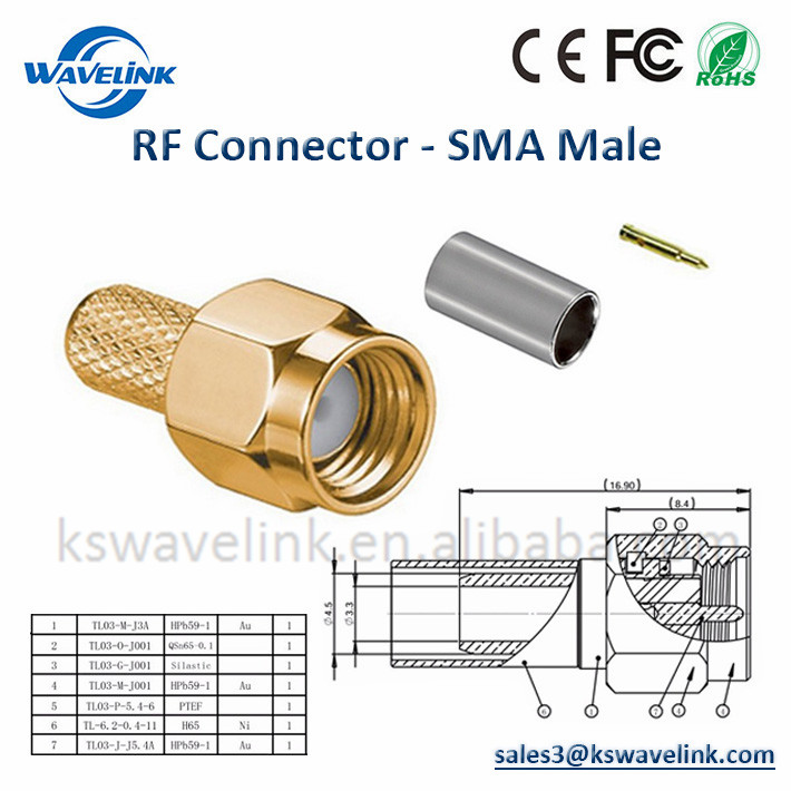 Supply Good Quality SMA Male Connector Coaxial Cable Assembly for sma male Antenna