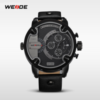 your logo custom watches fashion water resistant black leather watch for men