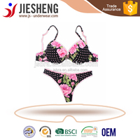 mature women flower printing underwear hot image bra and sexy thong OEM service type sexy lingerie (Accept OEM)