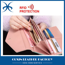 2016 New Fashion Women Wallet Hit Color 3 Fold Flowers Printing PU Leather Wallet Long Coin Purse RFID