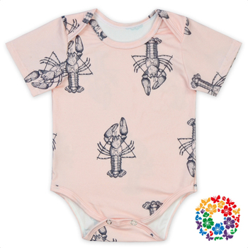 pink grey crawfish faux suede fabric short sleeve summer baby bodysuit