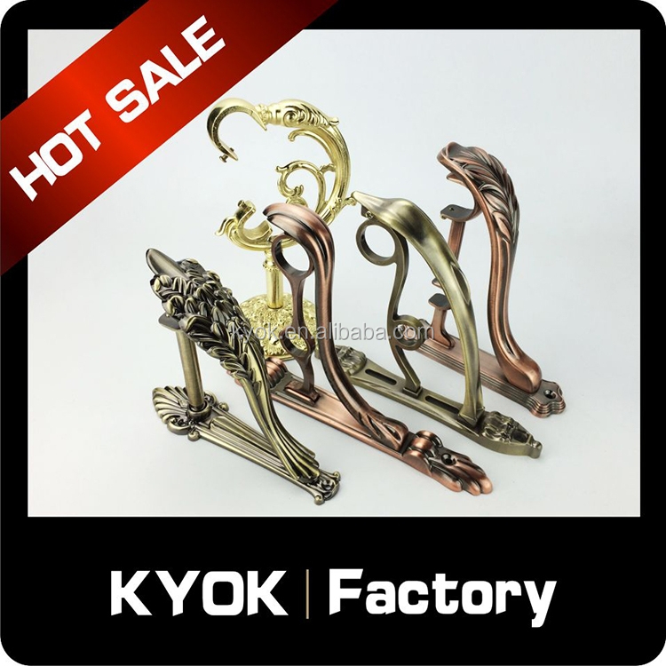 KYOK good quality home decorative brass curtain rail bracket, reasonable price curtain rod accessories, curtain rod 19mm stand