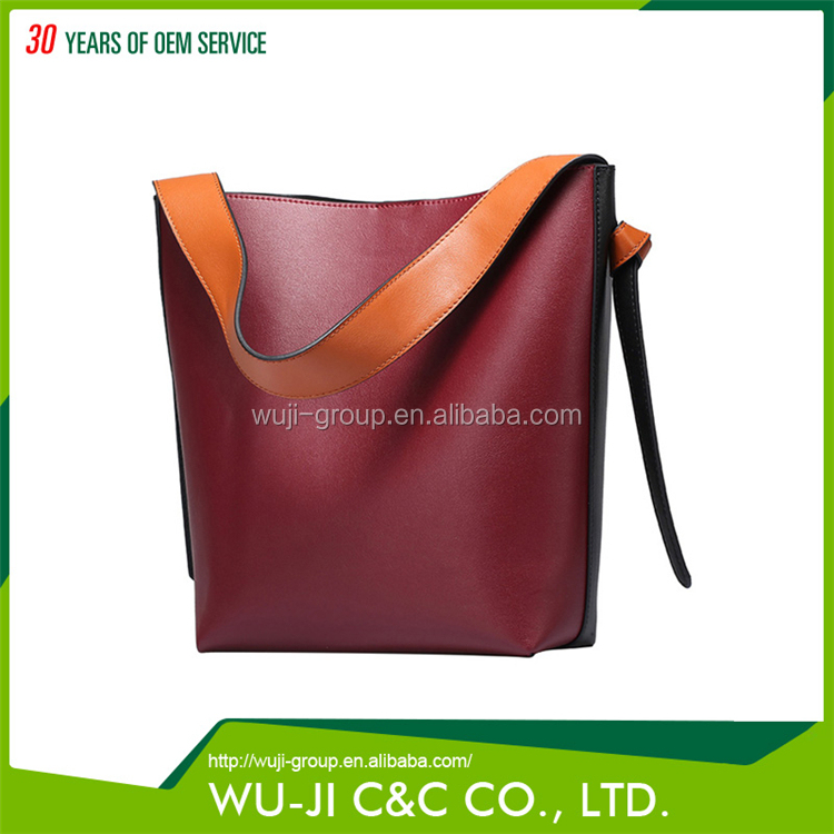 Top Grain Lady Leather Women's Color Block Hobo Bali Leather Bag