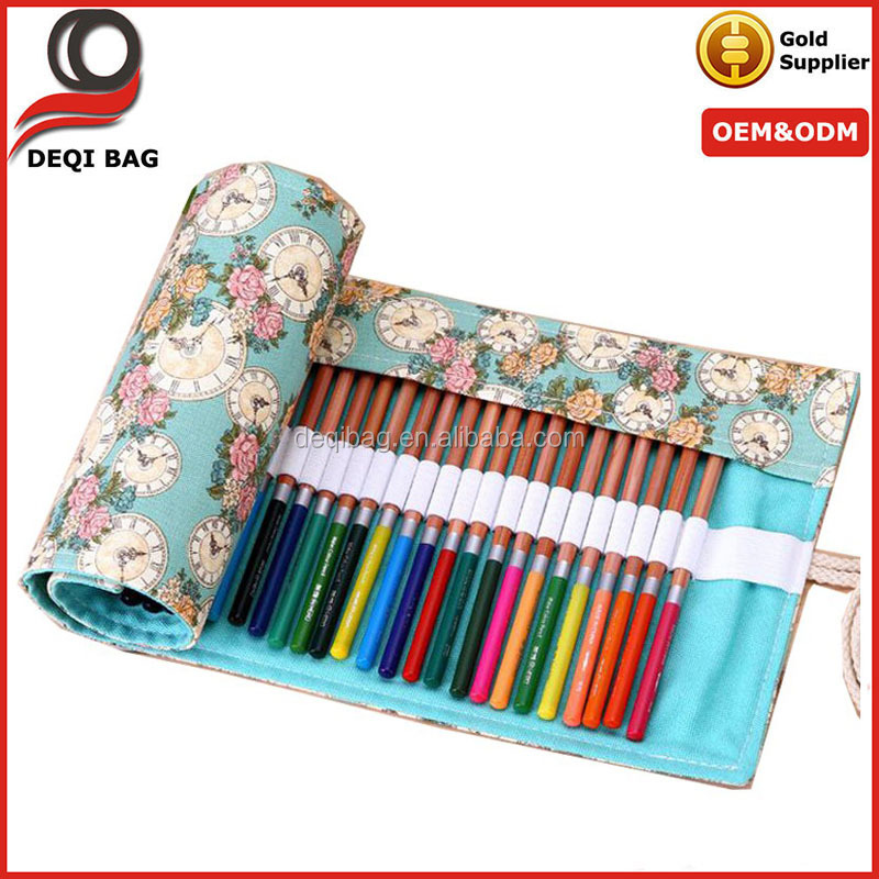 36/48/72 Holes Pencil Bag School Canvas Painting Stationery Roll Up Pencil Case