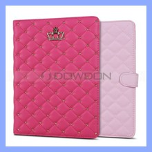 Diamond Crown Leather Flip Cover for iPad Air Stand Case