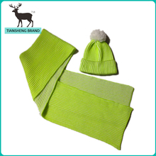 Fashion fluorescence colo(u)r knitted winter big hat scarf set