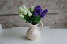 NZ-6017 High quality fabric decorative silk artificial flower smiling tulip 9 buds