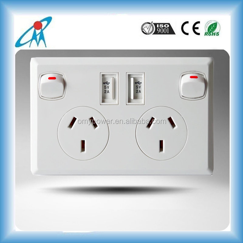 AU SAA certificated Australian New Zealand 5V/2.1A dual usb wall socket with switch