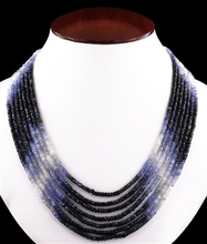 7 Rows Ceylonese Blue Sapphire Faceted Beaded Necklace in Elgin