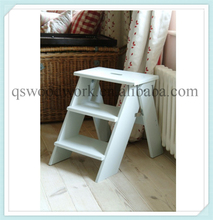 wide step ladder, maple wood step stool, wood maple step ladder