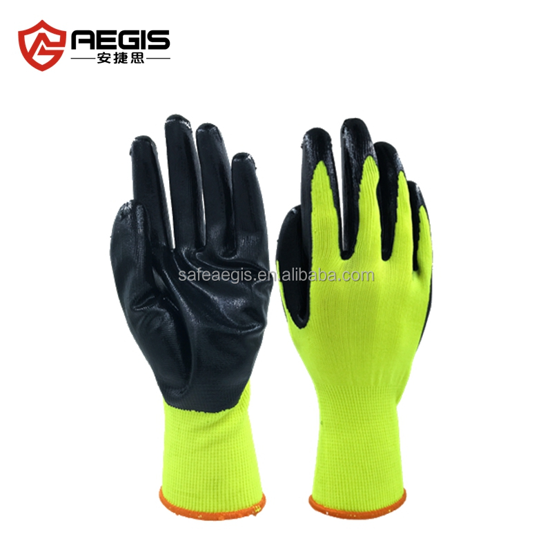 100% polyester lined nitrile coated working safety gloves