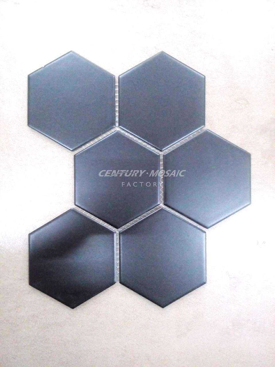 Classic Honed Black Big Hexagon Ceramic Mosaic Tiles For Wall