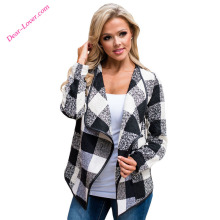 Fashion Wholesale Open Front Plaid long sleeve winter jacket women