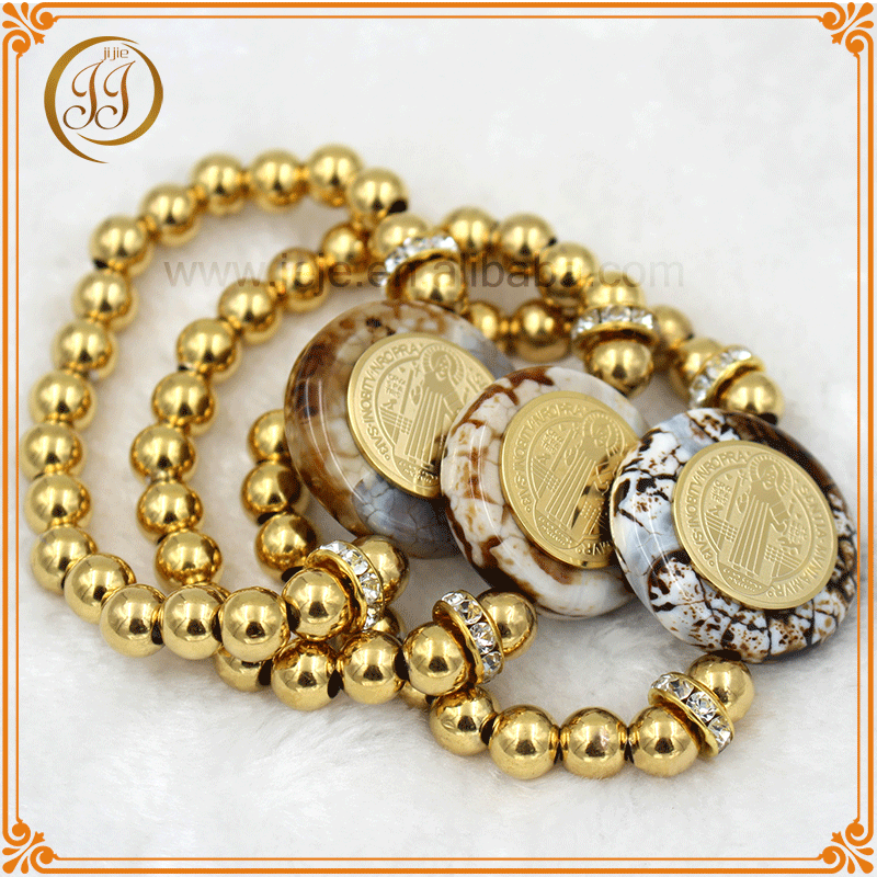 Wholesale fashion gold plated bead stone bracelet with crystal