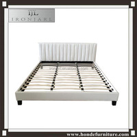 cheap white simple style faux leather bed