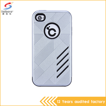 fashionable Silver color hybrid armor mobile phone case for apple iPhone 4 4s 4G