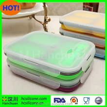 FDA standard silicone collapsible lunch boxes fresh food container in 3 compartments