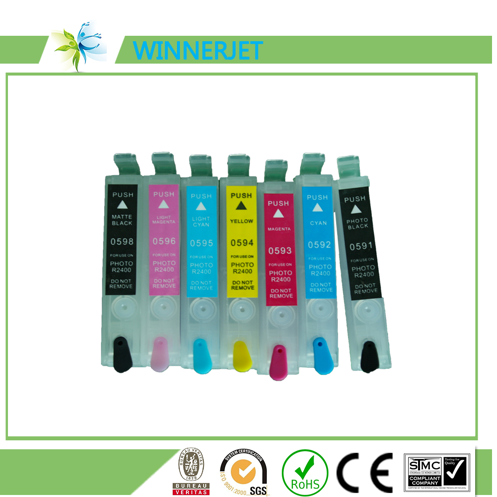 empty refillable ink cartridges for epson R2400 printer with ARC chip T0591 - T0599
