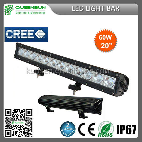 Auto Car cree led light bar 12v 60W 20'' 4WD 4x4 High Lumens single row 10w led light bar 60w led light bar SRLB60-C3