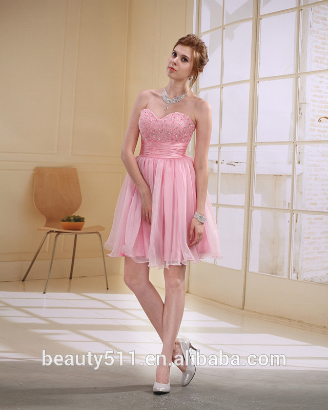 Short Sheath / Column Sweetheart Short / Mini Taffeta with Crystal prom dress EK24