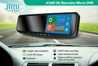 Car gps navigator Android bluetooth dual camera 1080p car dvr rearview, blind spot rear view mirror